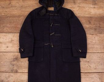 Womens Vintage Gloverall Navy Blue Wool Hooded Duffle Coat XL 18 R7819