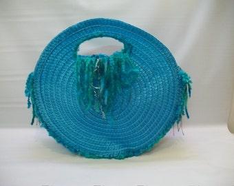 Handmade Purse, Round Straw Purse, Round Handbag, Tribal Style Handbag, Bohemian Style Purse, Recycled Materials, Handmade Design,