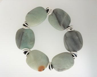 CLEARANCE Amazonite with Black Tourmaline Stretch Bracelet