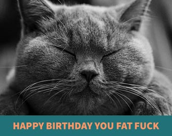 EXPLICIT - happy birthday you fat f**k - funny mean / sarcastic birthday card