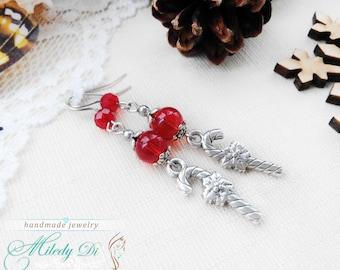 Candy cane earrings, Winter earrings, Christmas earrings, Red earrings, Beaded earrings for woman, Gift for wife, Bohemian earrings gift