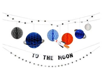 To The Moon Garland, Meri Meri, Space, Astronaut, Galaxy, Planets, Theme, Party Supplies