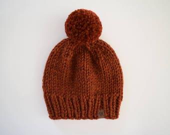 Knit Pom Pom Hat // Hats for Kids // Women's Hat // Pom Pom Beanie // Pumpkin Spice