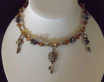 Vintage Bronze Key Beaded Necklace