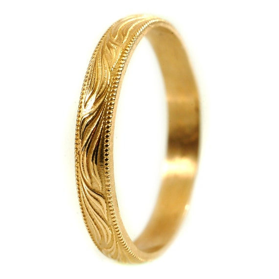 Thin Gold Wedding Band, Petite Wedding Band Vintage Style Ring, Gold Stacking Rings, Stackable Rings, Gold or Palladium Wedding Band Cr-5033