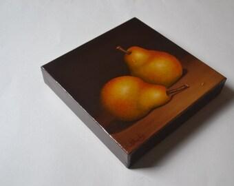 Original 8x8' realistic still life painting, pear painting, kitchen painting, fruit painting, fruit painting, food painting, pears miniature