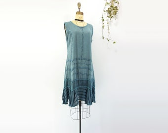 Boho Dress Embroidered Dress Hippie Dress Summer Dress Bohemian Dress Festival Dress Vintage 90s Dress Steel Blue Dress Teal Dress s