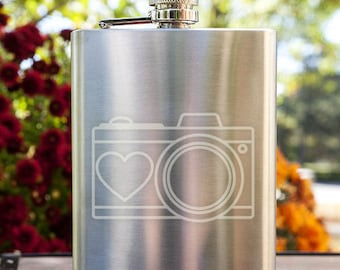 Camera with Heart Customizable Etched Stainless Steel Flask Barware Gift