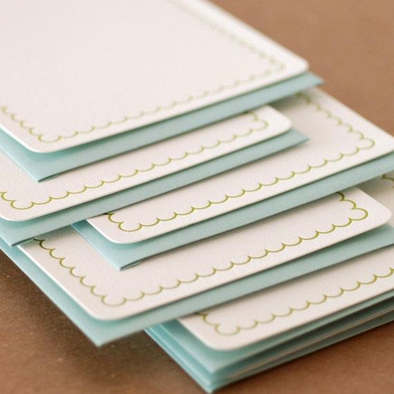 Letterpress Stationery : Edamame Simple Scallop Notes, box set of 50 medium flat cards w envelope color choice