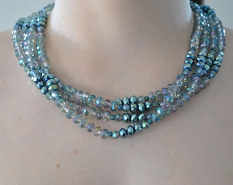Aquamarine Four Strand Pearl & Crystal Necklace