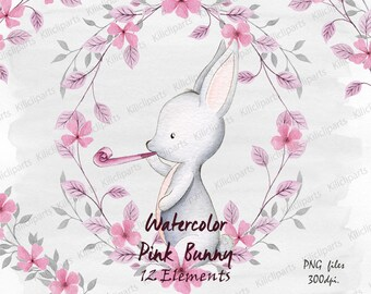 watercolor Pink and gray bunny, woodland pink and gray rabbit, baby shower invite, birthday invitation, baby clipart, watercolor Papers.