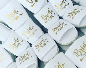 Bride tribe slippers, bridesmaid gift, personalised slippers, bachelorette slippers, Sister of the Groom, mother of the groom, slippers