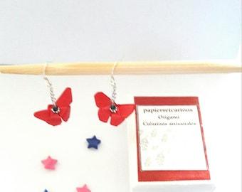 Origami - red butterflies, silver chain earrings.