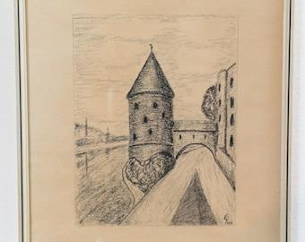 Vintage Steeple Artwork - Framed 1960's Stencil of Castle