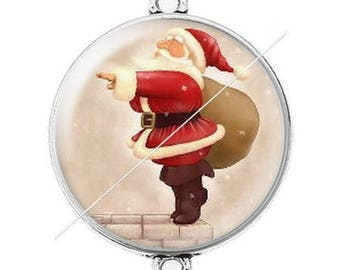 Large silver cabochon connector Merry Christmas happy holidays 18