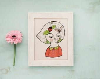 Butterfly and ladybug postcard, spring girl illustration