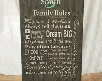 Christian Family Rules Wood Sign in 9 Text Colors (Ebony)