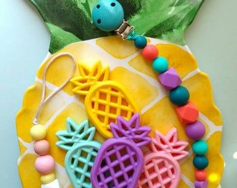 Pineapple teethers, silicone teethers, pacifier clips, dummy strings, teething baby, teether holder, teether clips