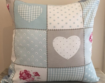 Patchwork Print Canvas Cushion Pillow Cover