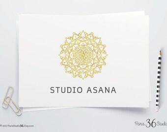 Instant Download Logo Gold Foil Mandala Logo Design Photoshop Logo PSD Logo Template Watercolor Logo Yoga Logo Fitness Logo Restaurant Logo