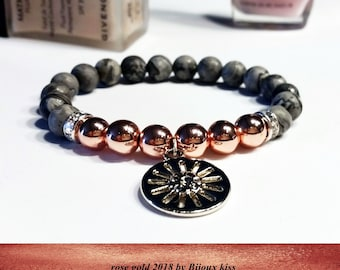 women bracelet, chic rose gold hematite