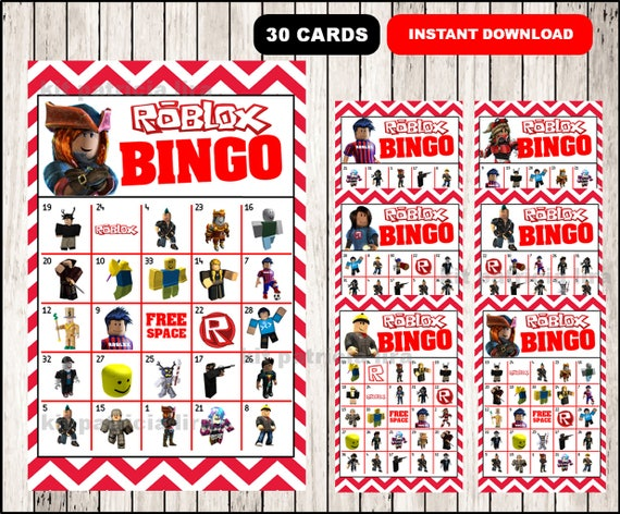 Roblox Bingo Game Printable 30 Different Cards Party