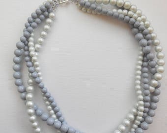 Light grey and dark grey matte braided twisted chunky statement pearl necklace