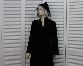 Vintage Black Velvet Hooded Coat 30s/40s Rare