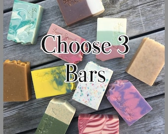 CHOOSE 3 BARS | Soap Discount | Shave Soap | Soap Bars | Pick 3 Soaps | Ready to Ship | Flat Rate Shipping | Cold Process Soap