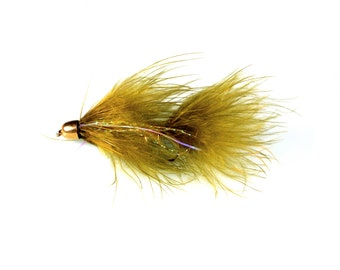 Olive Bomber Bugger Streamer Fly for Fly Fishing Size 4