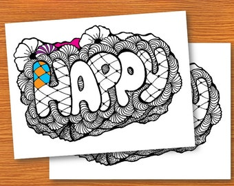 Happy Zentangle, Adult Coloring pages, Zentangle Art, PDF Zentangle Coloring Page, Coloring Book, Instant download, printable coloring pages