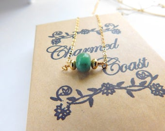 Raw Emerald Necklace - Rough Emerald - Gold Necklace - Drop Necklace - 14k Gold Filled - May Birthstone Jewelry