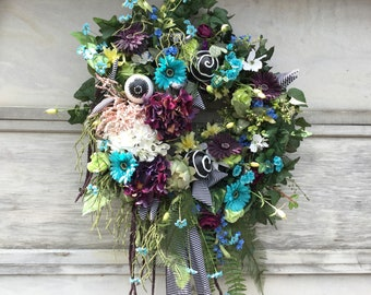 """Spring/Summer Wreath,  Ready Made, Ready To Ship! Large 31"""" Wide x 43"""" Long"""