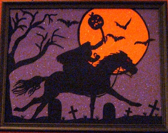 Hand Painted Halloween HEADLESS HORSEMAN on Glass - REVERSE PAiNTED - Purple Glitter Paper - 9.5 x 11.5 Frame - Halloween Decor