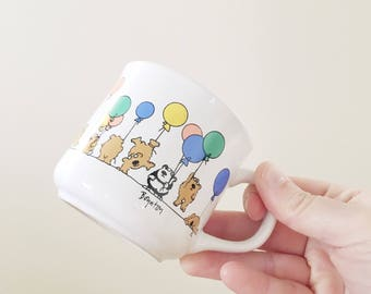 Vintage Kid Size Balloon Birthday Mug -- Sandra Boynton Mug -- Kitsch Kitschy
