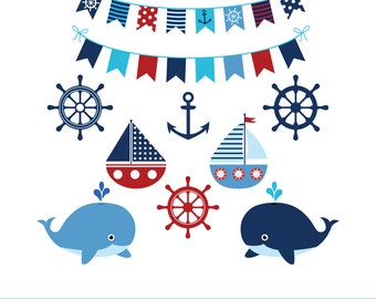 Boy nautical clipart, Blue whale clipart, Sea anchor clip art, Sailing boat clipart, Blue red clipart, Sailboat  bunting  clipart, Navy red
