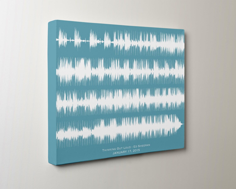 Custom wedding song art print sound wave canvas for him