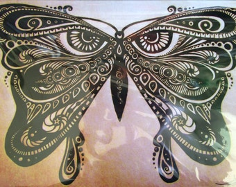 sepia butterfly poster