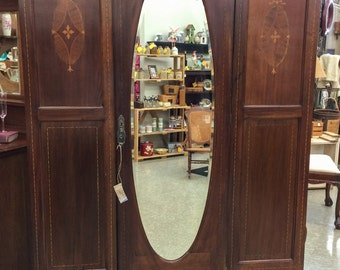Charmant Antique Armoire With Inlay, Mahogany Wardrobe With Mirror, Antique  Furniture, Bedroom, Vintage