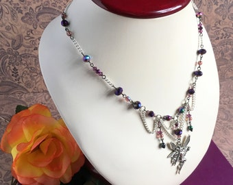 faerie necklace with purple bead accents - fairy necklace, faerie charm