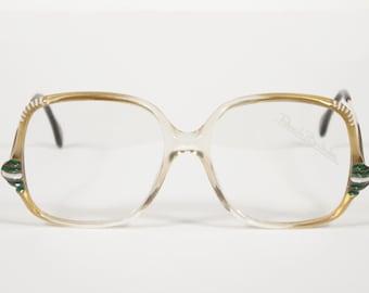 Renato Balestra NOS 1970er Jahren Bilderrahmen Vintage Gold Kunststoff w / grünen Akzenten Brillengestelle