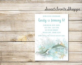 Dolphins Birthday Invitation, Dolphin Tale Birthday Party Invitation, Beach Invitation, Pool Party Invitation, Sea Invitation, Dolphin Party