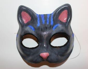Black cat mask with blue stripes