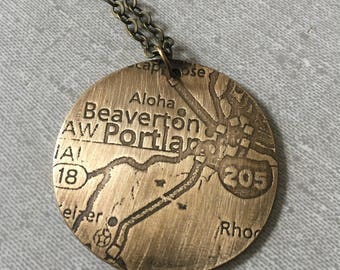 Embossed Portland Map Necklace