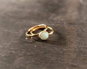 Opal Thick Stacking Set - TWO RINGS (Gold Silver Rose Gold October Birthstone Stacking Ring Gifts Under 50)