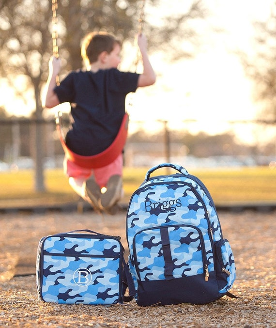 Monogrammed Blue Camouflage Backpack, Matching Lunchbox can be purchased, Monogram Included, Camo bookbag, boys bookbag