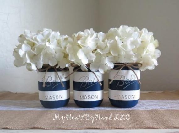 Nautical Baby Shower Centerpiece Navy Blue And White Stripes