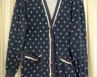 Vintage geometric print cardigan sweater