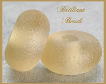 """Frosted Sand Brown...""""Sea Glass"""" Spacer Bead Pair...Handmade Lampwork Beads SRA, Made To Order"""
