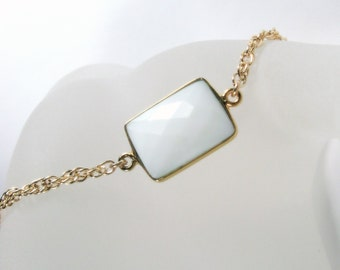 Gold Bracelet, White Chalcedony Layering, Gifts for Her, Summer Bracelet